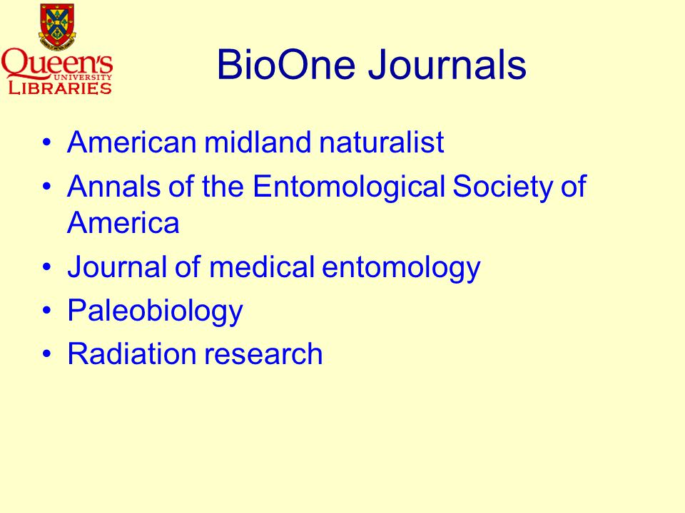 BioOne Aggregation of high-impact bioscience research journals Collaboration between scientific societies, libraries, academe & private sector Articles in the database are reference- linked with other BioOne journals = integrated access SPARC partner Not a publisher