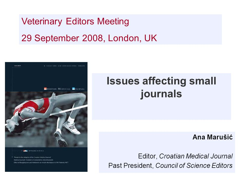 Issues affecting small journals Ana Marušić Editor, Croatian Medical Journal Past President, Council of Science Editors Veterinary Editors Meeting 29 September 2008, London, UK