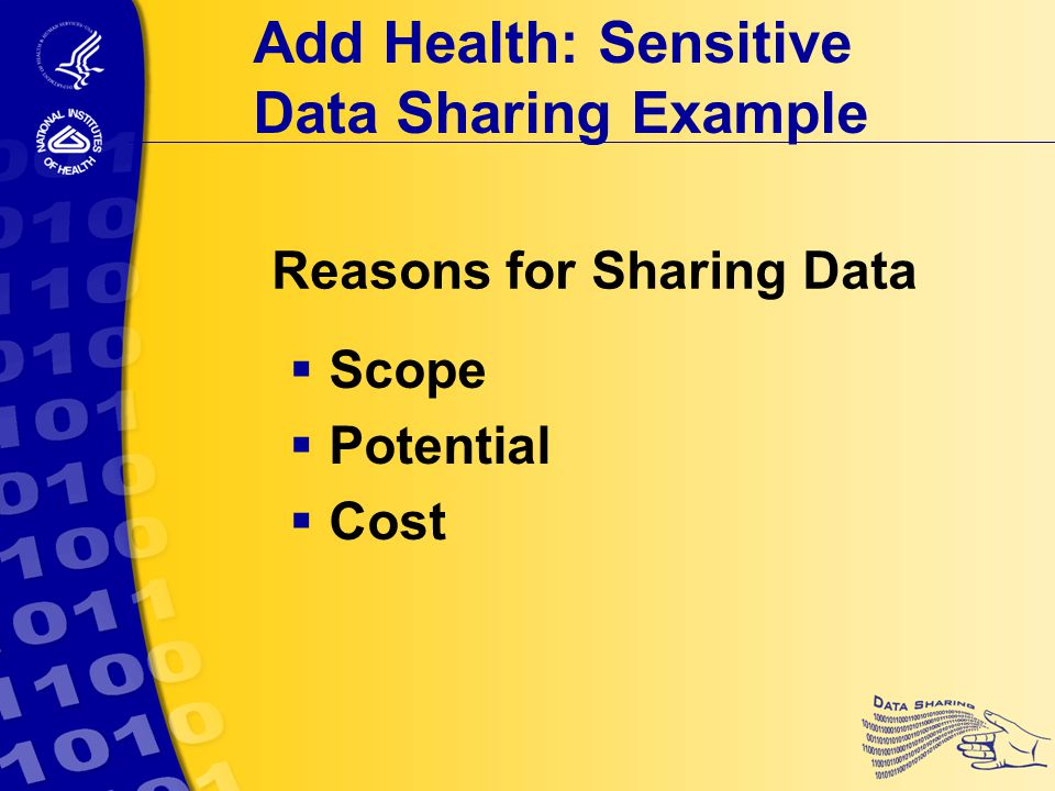 Reasons for Sharing Data  Scope  Potential  Cost Add Health: Sensitive Data Sharing Example