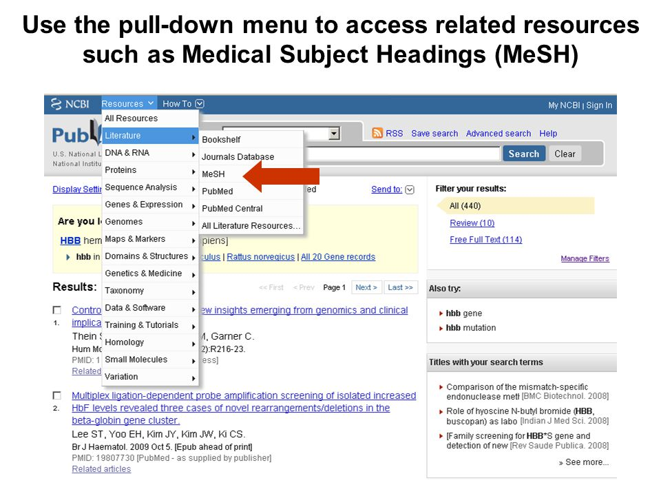 Use the pull-down menu to access related resources such as Medical Subject Headings (MeSH)
