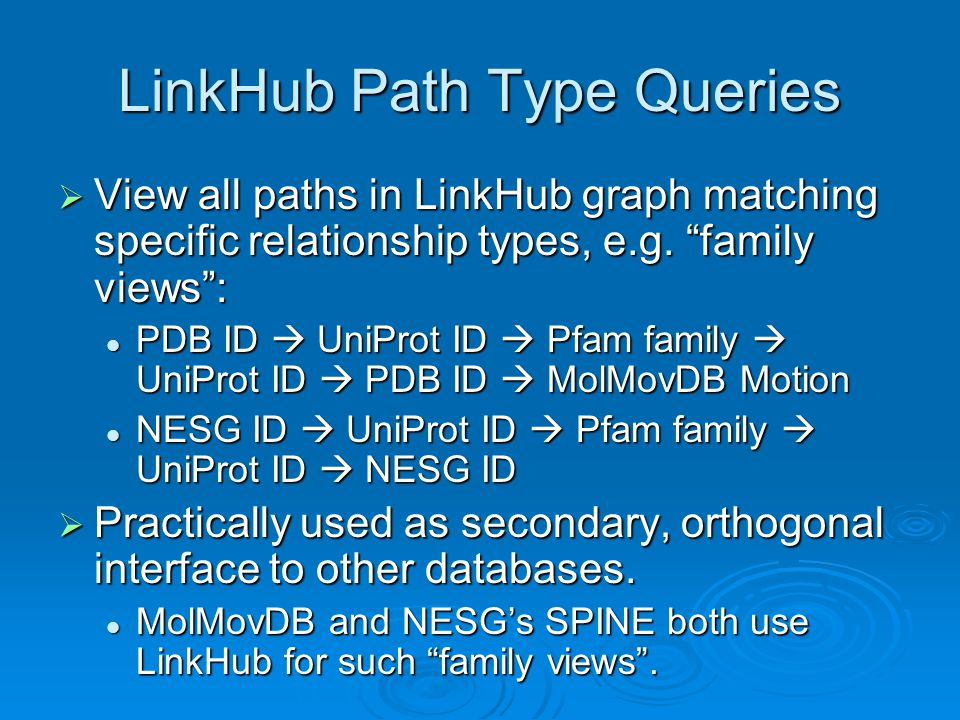 LinkHub Path Type Queries  View all paths in LinkHub graph matching specific relationship types, e.g.