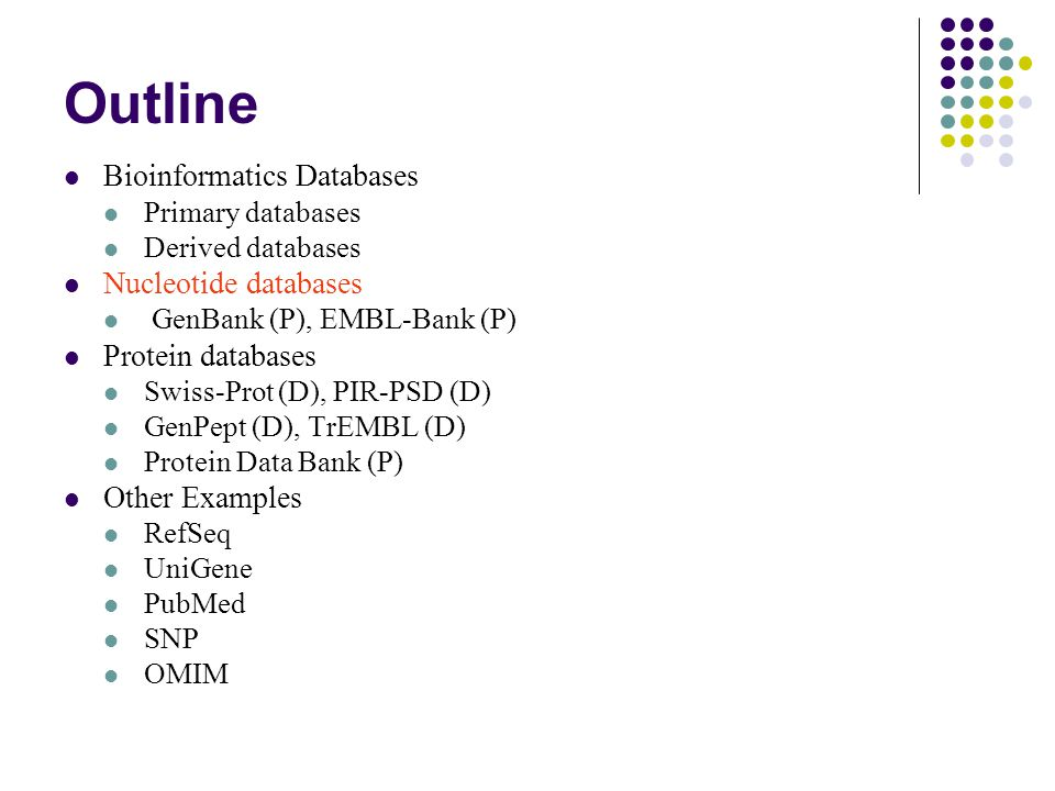 Outline Bioinformatics Databases Primary databases Derived databases Nucleotide databases GenBank (P), EMBL-Bank (P) Protein databases Swiss-Prot (D), PIR-PSD (D) GenPept (D), TrEMBL (D) Protein Data Bank (P) Other Examples RefSeq UniGene PubMed SNP OMIM