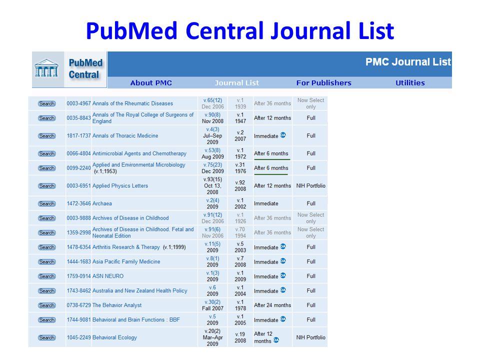 PubMed Central Journal List