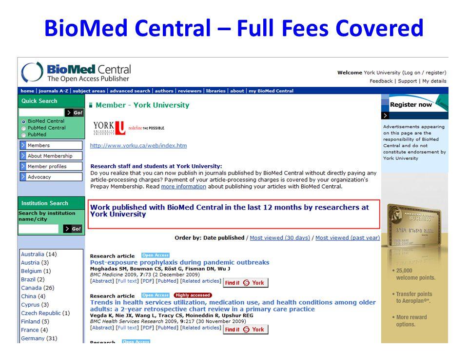 BioMed Central – Full Fees Covered