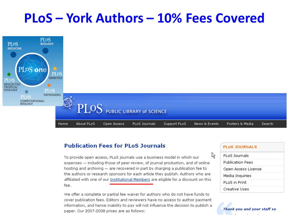 PLoS – York Authors – 10% Fees Covered