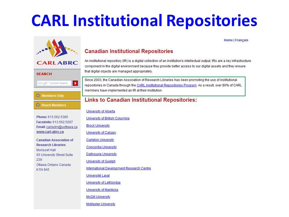 CARL Institutional Repositories
