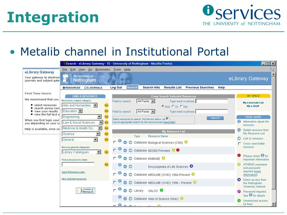 Integration Metalib channel in Institutional Portal
