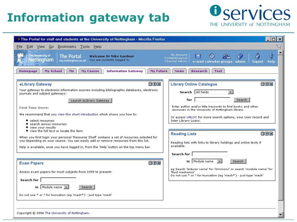 Information gateway tab