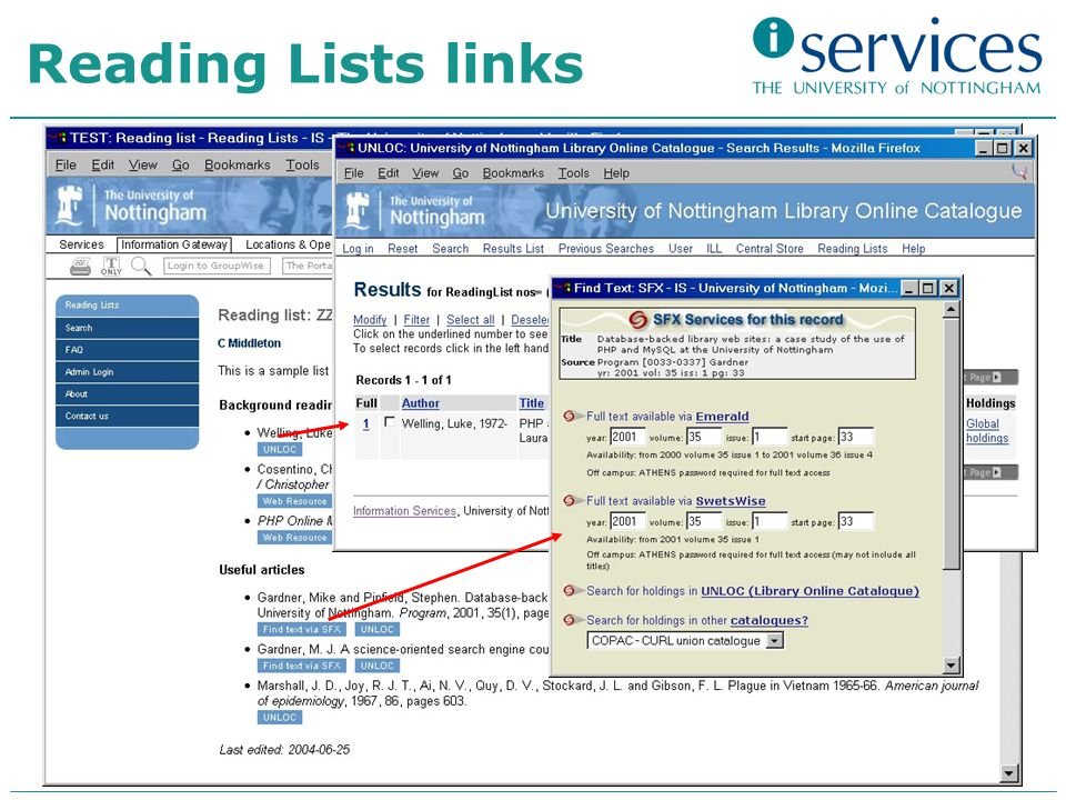 Reading Lists links