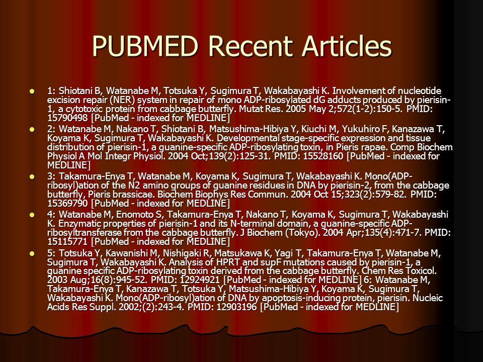 PUBMED Recent Articles 1: Shiotani B, Watanabe M, Totsuka Y, Sugimura T, Wakabayashi K.