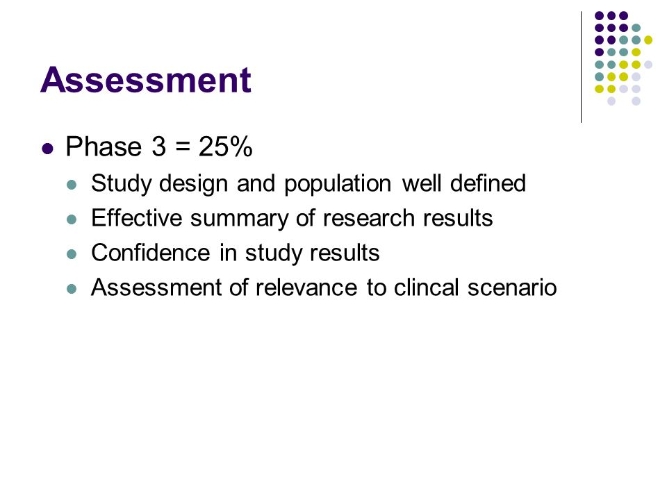 Assessment Phase 3 = 25% Study design and population well defined Effective summary of research results Confidence in study results Assessment of relevance to clincal scenario