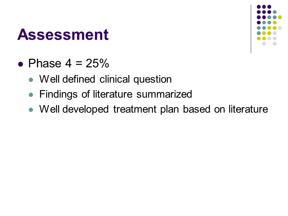 Assessment Phase 4 = 25% Well defined clinical question Findings of literature summarized Well developed treatment plan based on literature