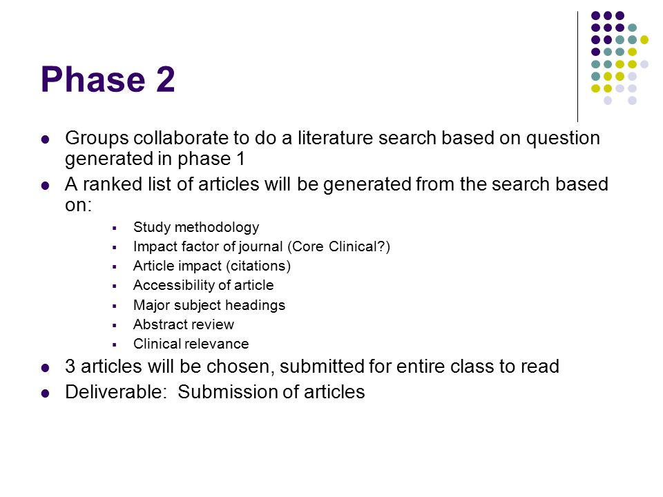 Phase 2 Groups collaborate to do a literature search based on question generated in phase 1 A ranked list of articles will be generated from the search based on:  Study methodology  Impact factor of journal (Core Clinical )  Article impact (citations)  Accessibility of article  Major subject headings  Abstract review  Clinical relevance 3 articles will be chosen, submitted for entire class to read Deliverable: Submission of articles