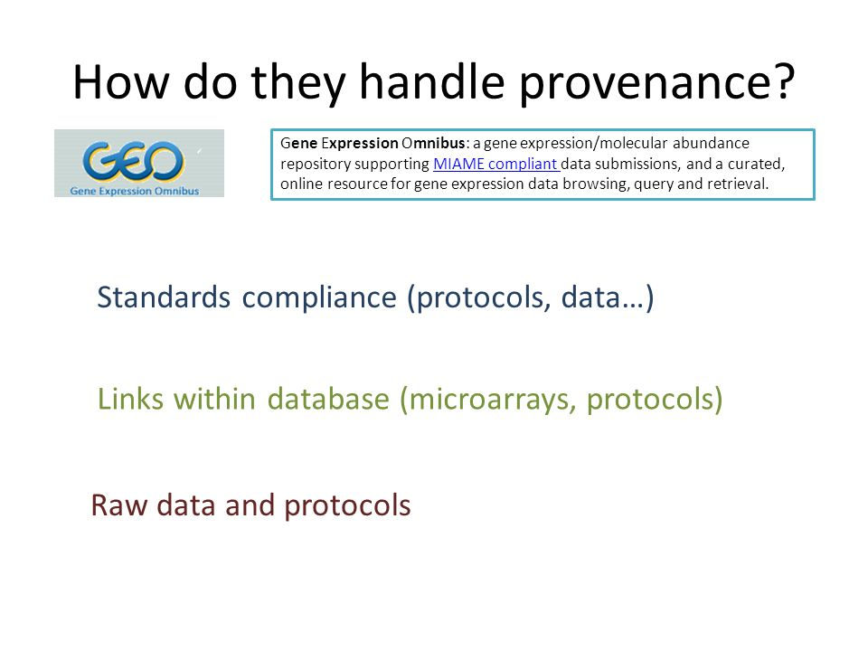 How do they handle provenance.