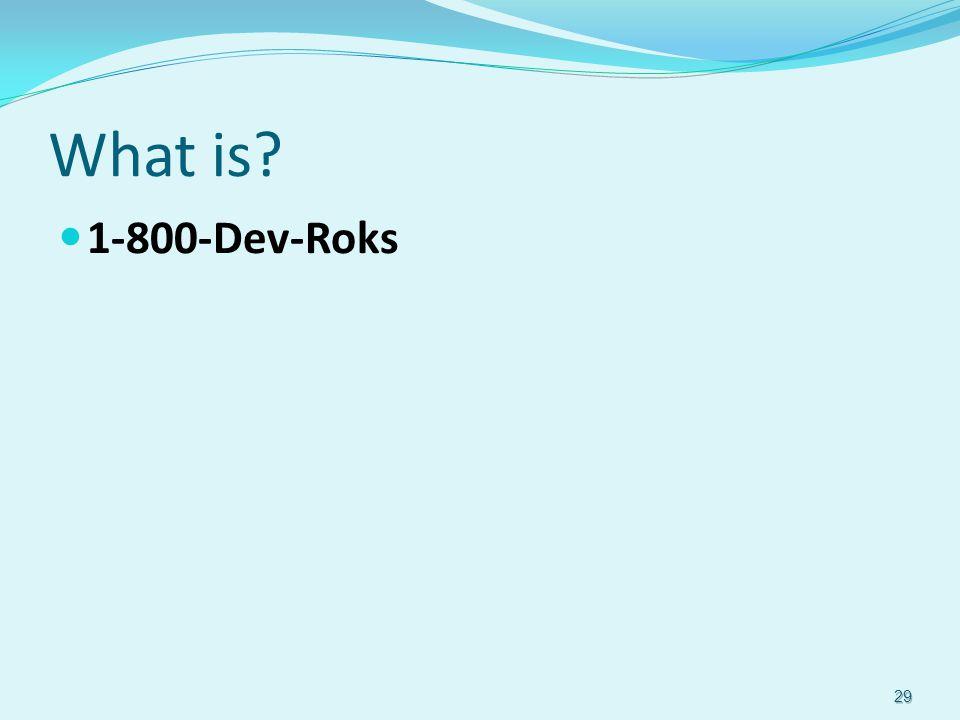 What is? 1-800-Dev-Roks 29