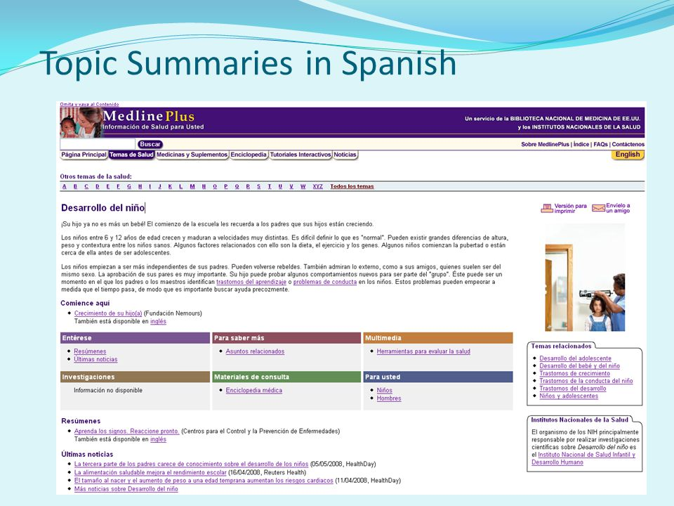 Topic Summaries in Spanish