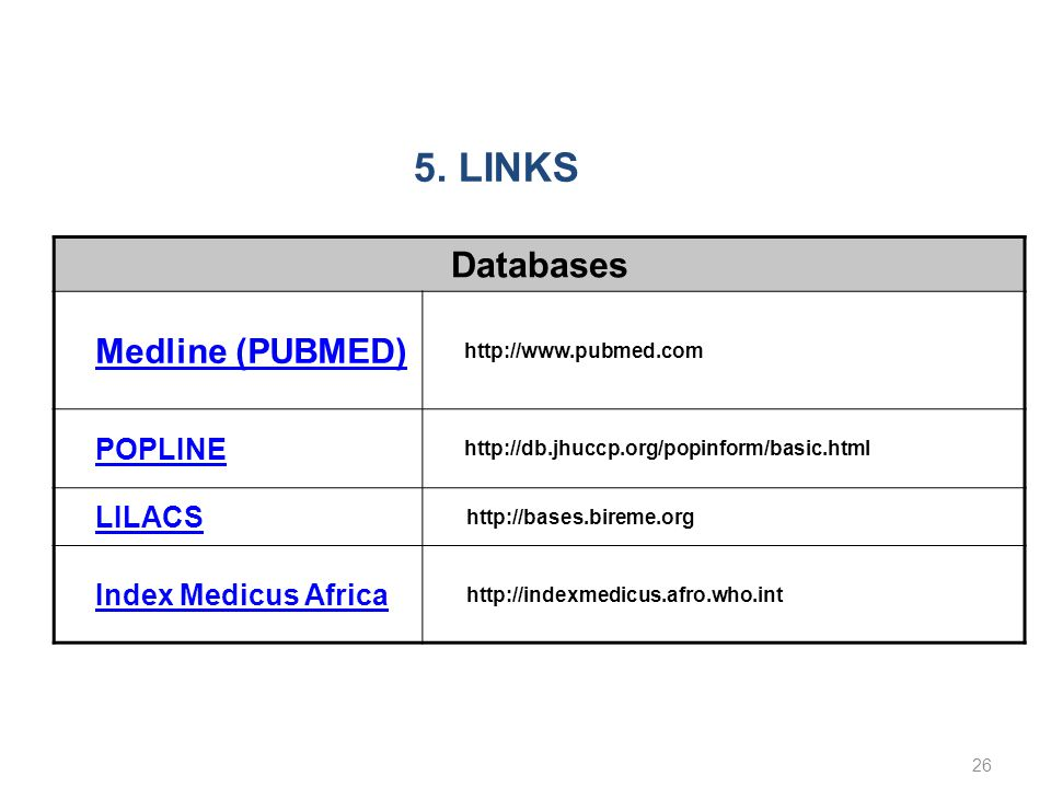 Databases Medline (PUBMED) http://www.pubmed.com POPLINE http://db.jhuccp.org/popinform/basic.html LILACS http://bases.bireme.org Index Medicus Africa http://indexmedicus.afro.who.int 26 5.