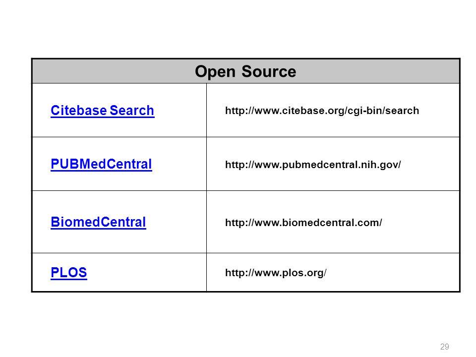 Open Source Citebase Search http://www.citebase.org/cgi-bin/search PUBMedCentral http://www.pubmedcentral.nih.gov/ BiomedCentral http://www.biomedcent