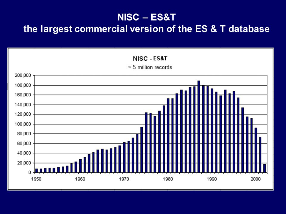 NISC – ES&T the largest commercial version of the ES & T database