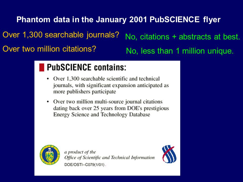 Phantom data in the January 2001 PubSCIENCE flyer Over 1,300 searchable journals.