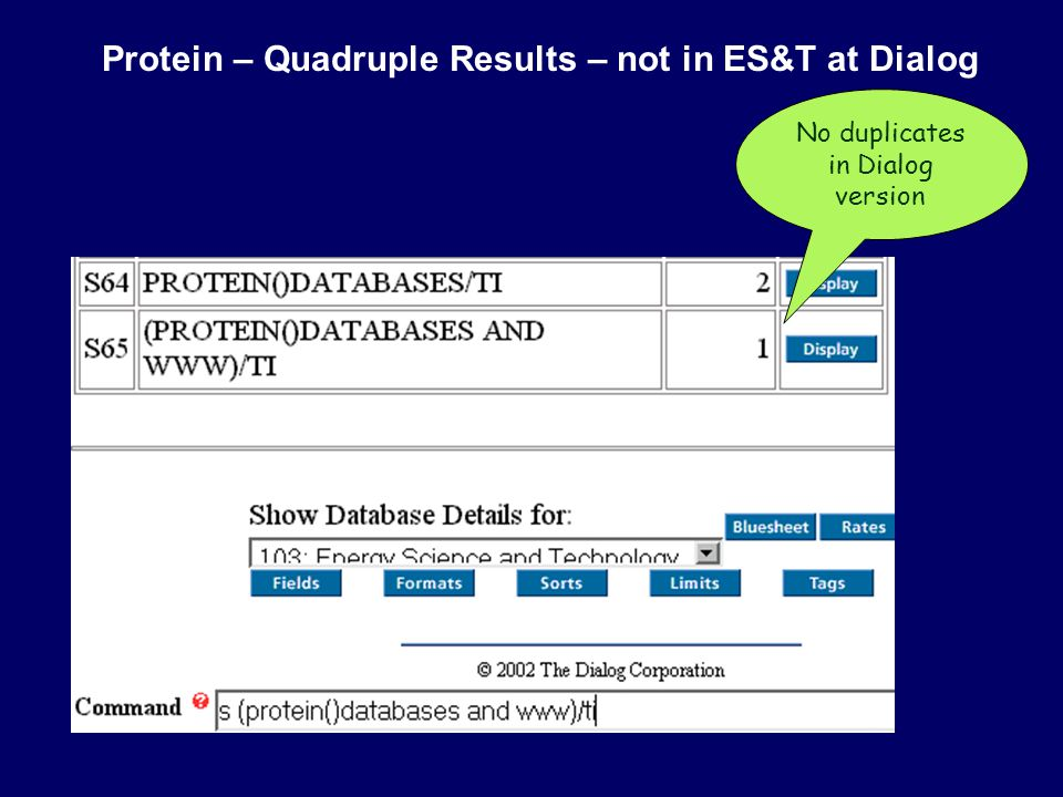 Protein – Quadruple Results – not in ES&T at Dialog No duplicates in Dialog version