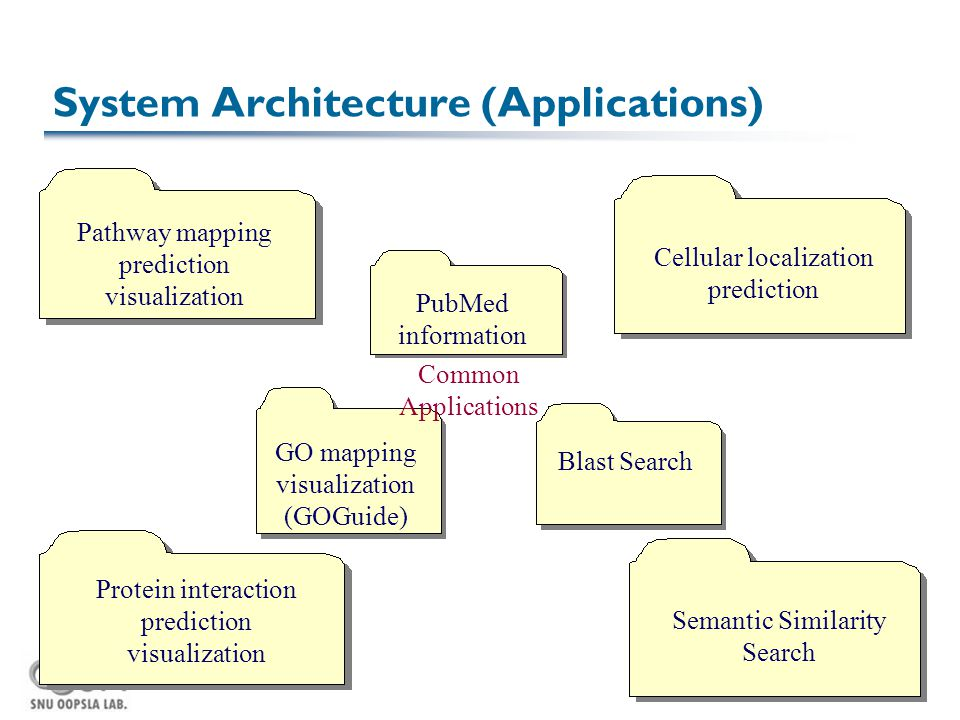 PubMed information System Architecture (Applications) Cellular localization prediction Pathway mapping prediction visualization GO mapping visualization (GOGuide) Protein interaction prediction visualization Semantic Similarity Search Common Applications Blast Search