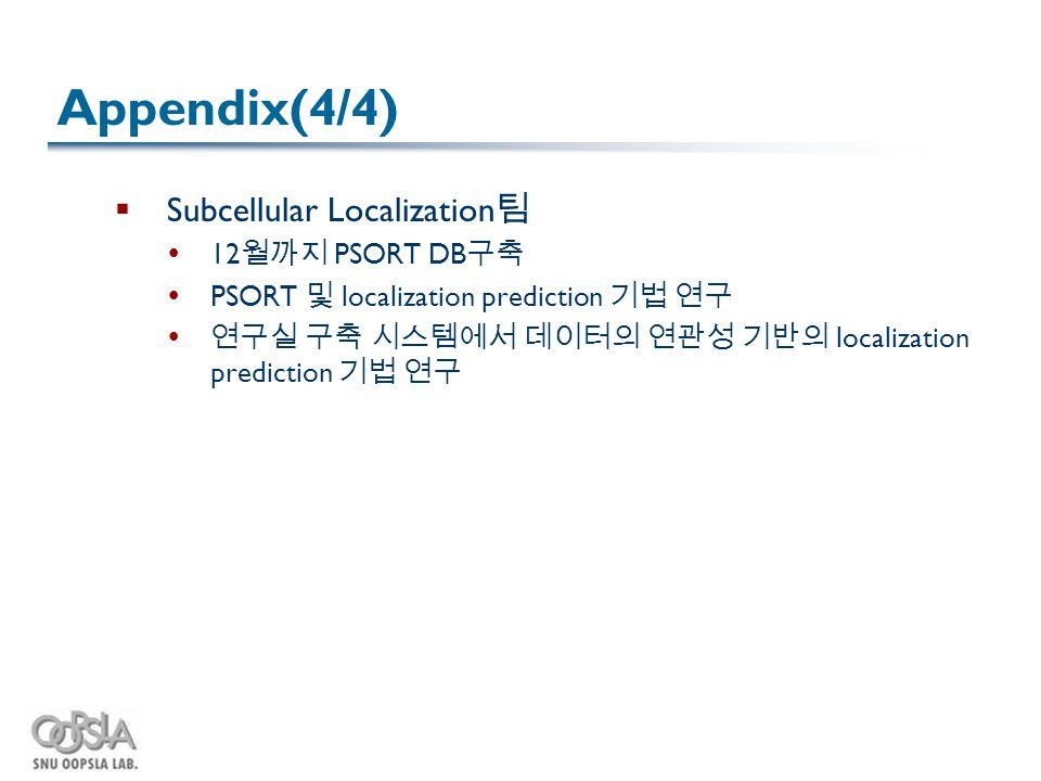 Appendix(4/4)  Subcellular Localization 팀  12 월까지 PSORT DB 구축  PSORT 및 localization prediction 기법 연구  연구실 구축 시스템에서 데이터의 연관성 기반의 localization predi