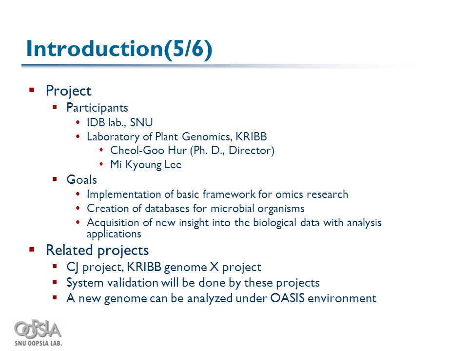 Introduction(5/6)  Project  Participants  IDB lab., SNU  Laboratory of Plant Genomics, KRIBB  Cheol-Goo Hur (Ph.