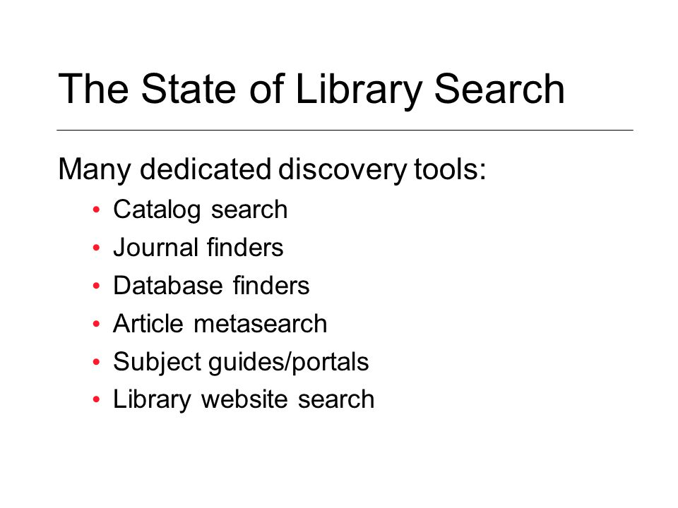 The State of Library Search Many dedicated discovery tools: Catalog search Journal finders Database finders Article metasearch Subject guides/portals Library website search