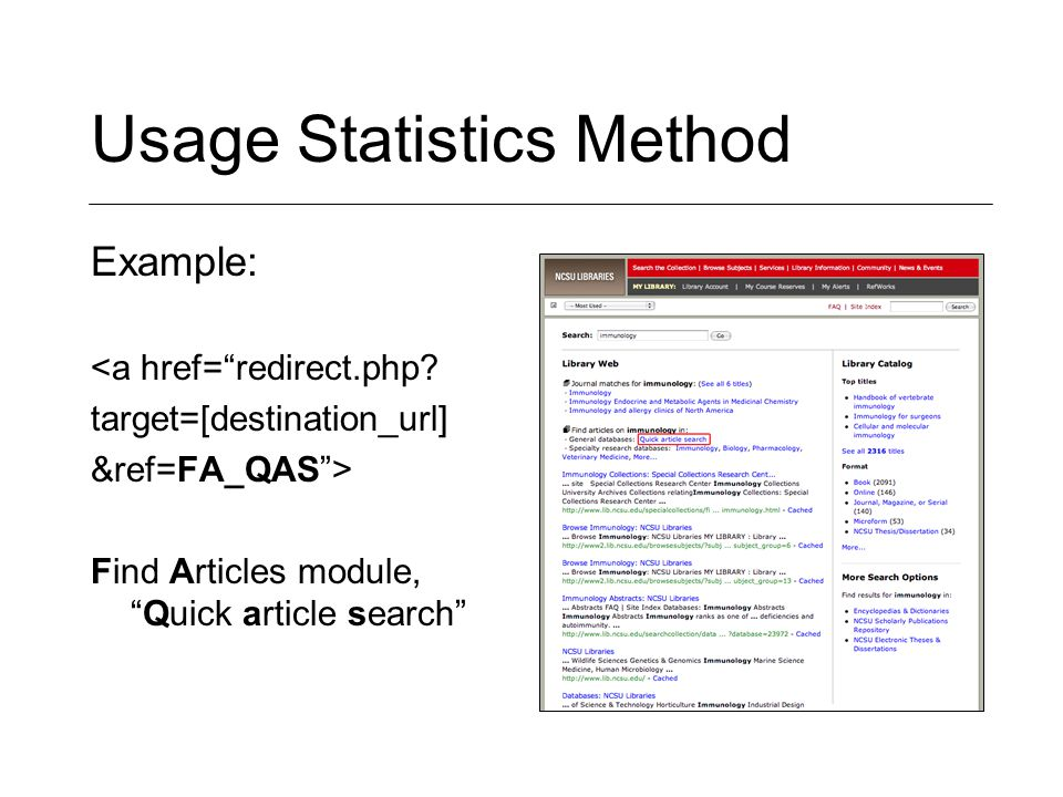 Usage Statistics Method Example: <a href= redirect.php.