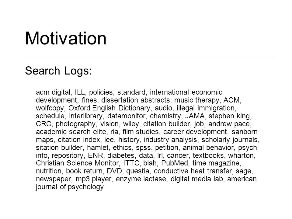 Motivation Search Logs: acm digital, ILL, policies, standard, international economic development, fines, dissertation abstracts, music therapy, ACM, w