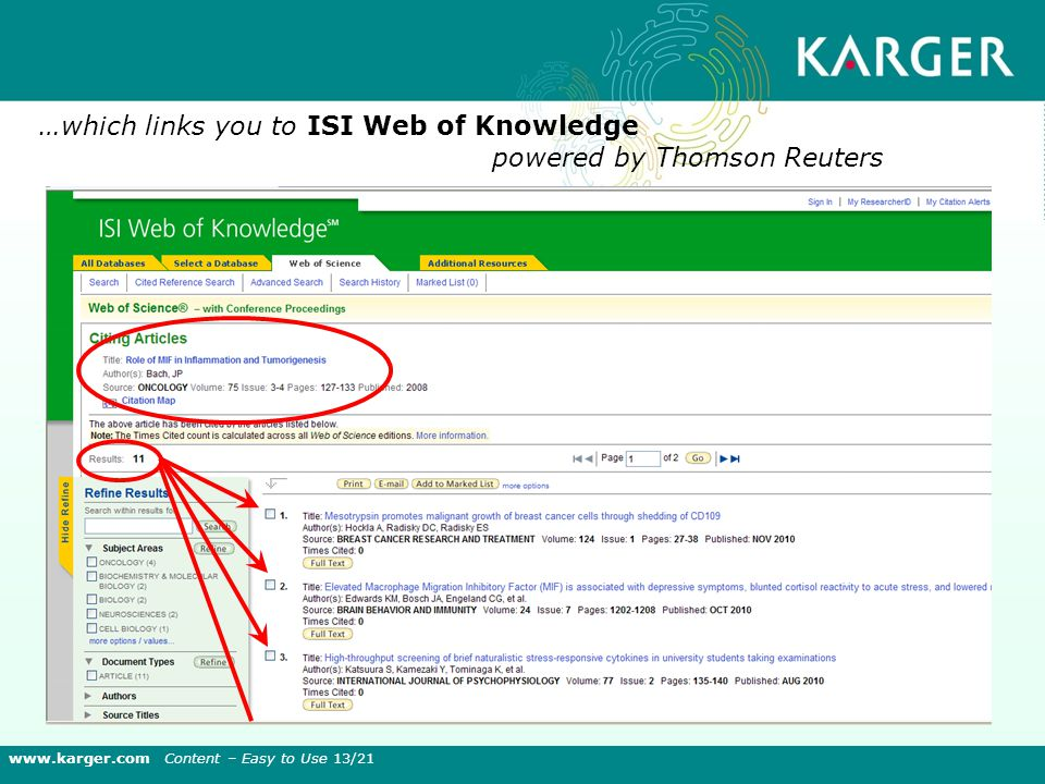 …which links you to ISI Web of Knowledge powered by Thomson Reuters www.karger.com Content – Easy to Use 13/21