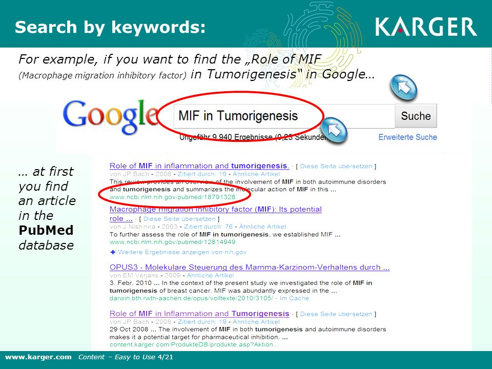 "For example, if you want to find the ""Role of MIF (Macrophage migration inhibitory factor) in Tumorigenesis in Google… … at first you find an article in the PubMed database Search by keywords: www.karger.com Content – Easy to Use 4/21"