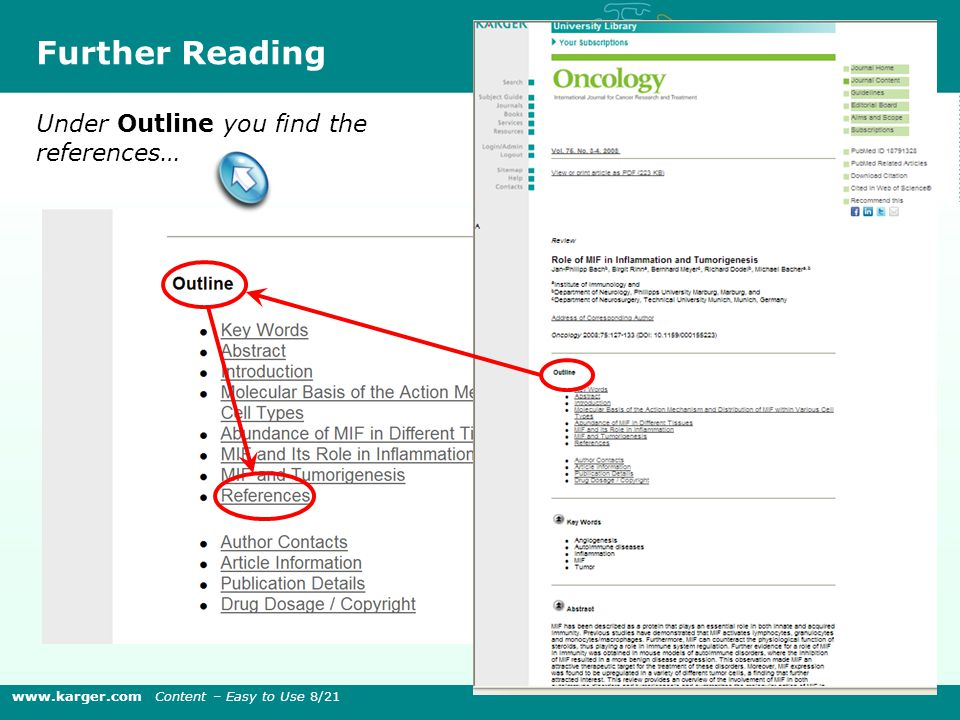 Under Outline you find the references… Further Reading www.karger.com Content – Easy to Use 8/21