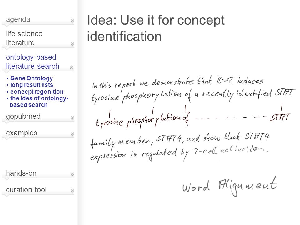 Idea: Use it for concept identification agenda life science literature ontology-based literature search Gene Ontology long result lists concept regonition the idea of ontology- based search gopubmed hands-on curation tool examples