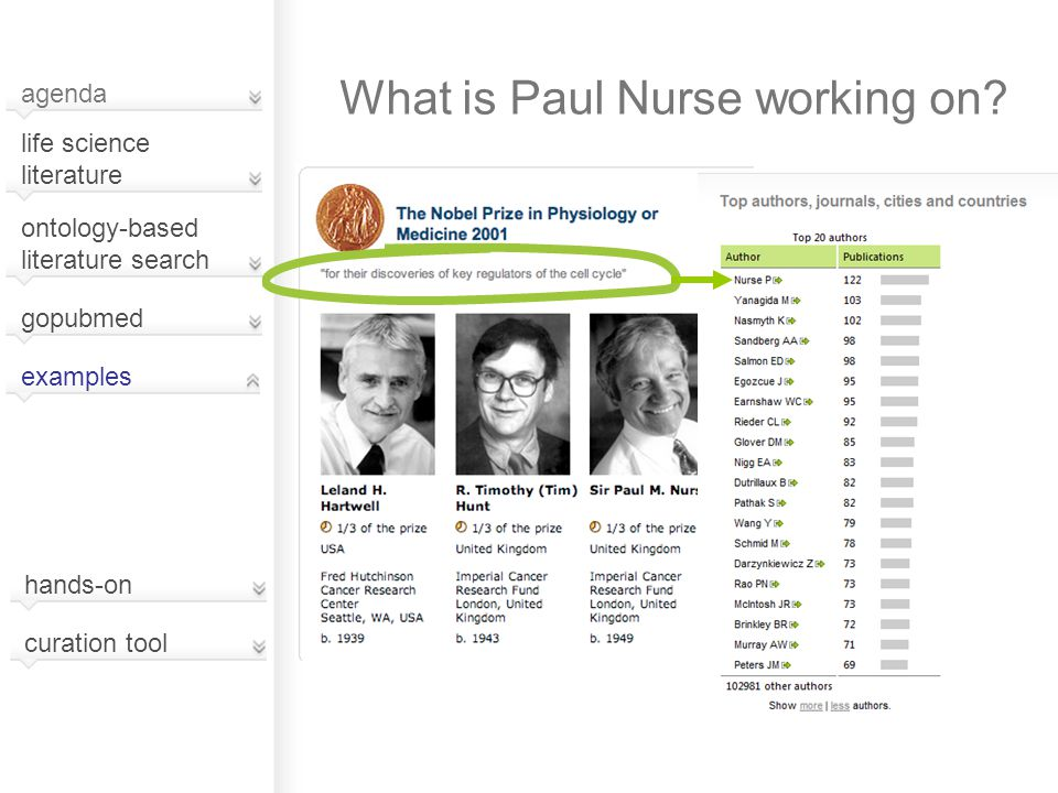 What is Paul Nurse working on? agenda life science literature examples ontology-based literature search hands-on curation tool gopubmed