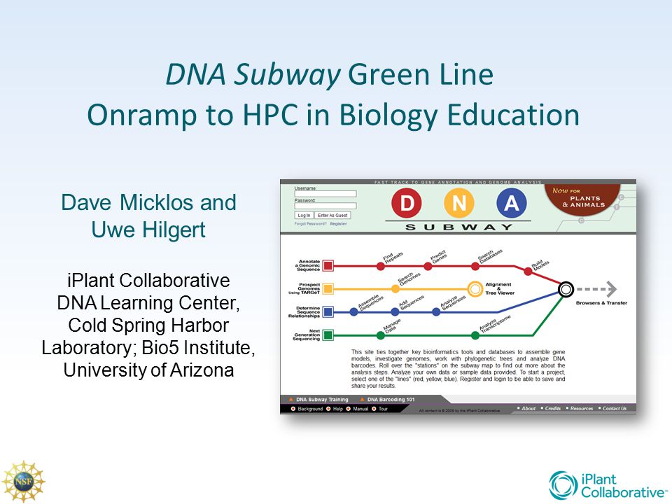 DNA Subway Green Line Onramp to HPC in Biology Education Dave Micklos and Uwe Hilgert iPlant Collaborative DNA Learning Center, Cold Spring Harbor Lab