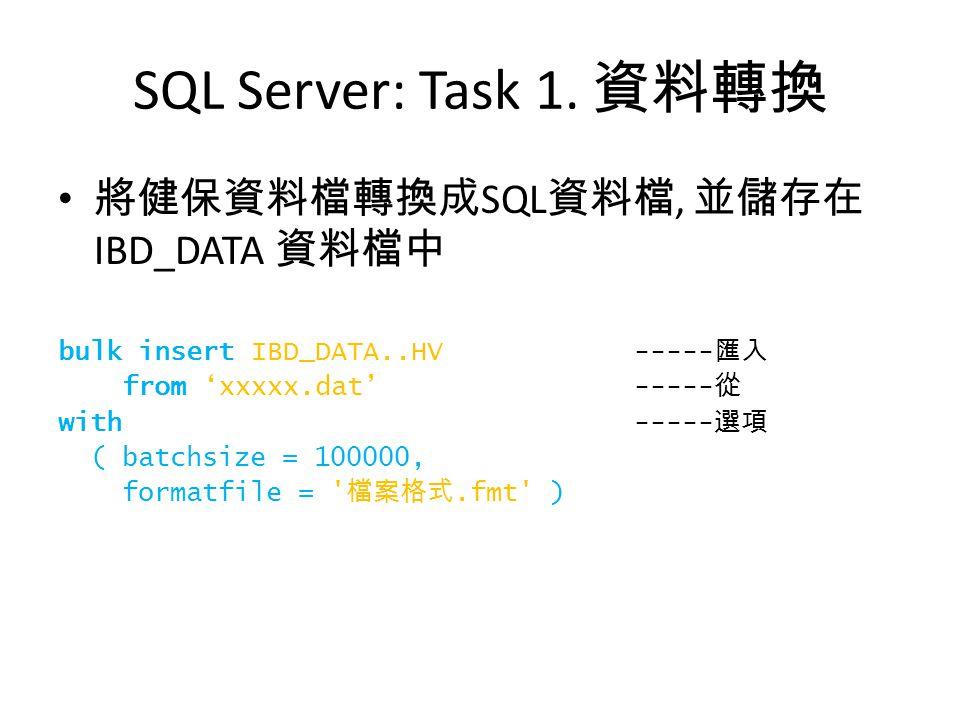 SQL Server: Task 1. 資料轉換 將健保資料檔轉換成 SQL 資料檔, 並儲存在 IBD_DATA 資料檔中 bulk insert IBD_DATA..HV ----- 匯入 from 'xxxxx.dat' ----- 從 with ----- 選項 ( batchsize =