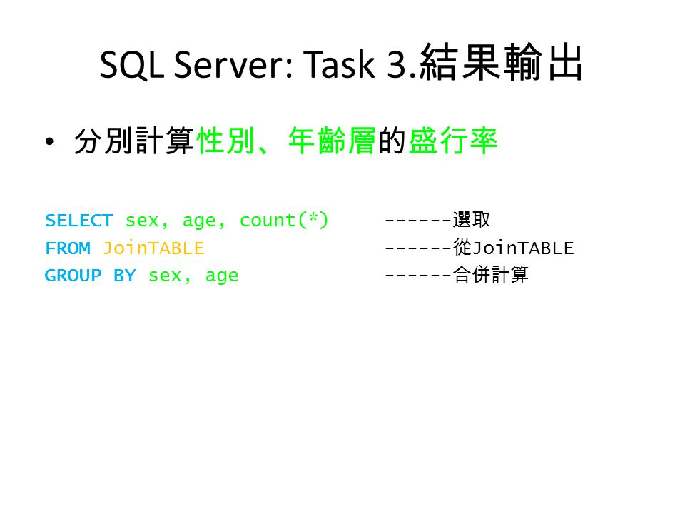SQL Server: Task 3. 結果輸出 分別計算性別、年齡層的盛行率 SELECT sex, age, count(*)------ 選取 FROM JoinTABLE ------ 從 JoinTABLE GROUP BY sex, age------ 合併計算