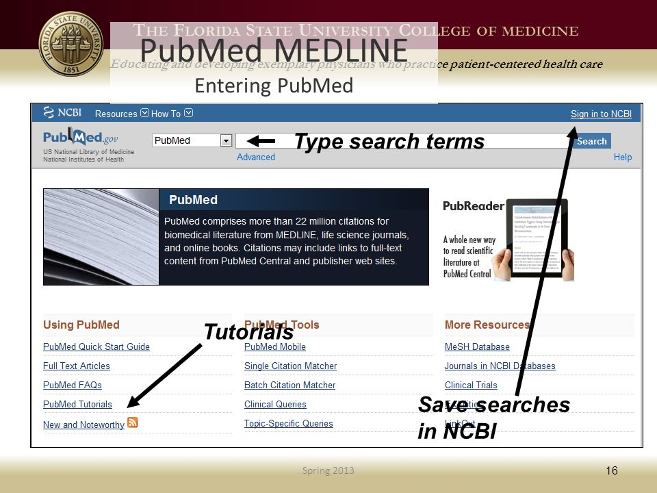 T HE F LORIDA S TATE U NIVERSITY C OLLEGE OF MEDICINE Educating and developing exemplary physicians who practice patient-centered health care PubMed MEDLINE Entering PubMed Spring 2013 16 Tutorials Type search terms Save searches in NCBI
