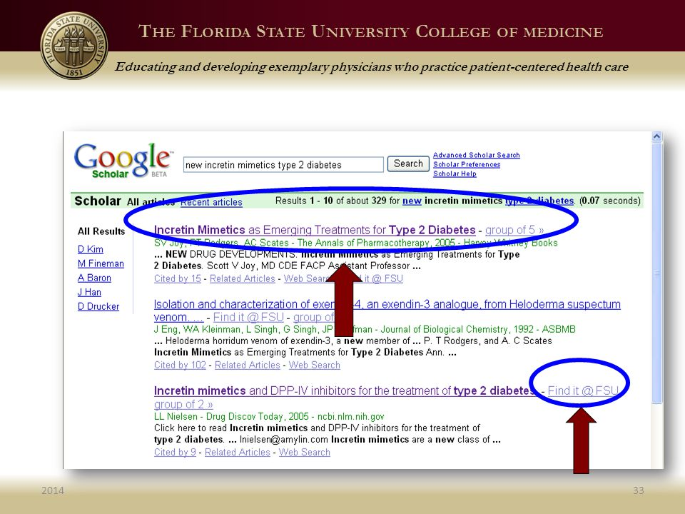 T HE F LORIDA S TATE U NIVERSITY C OLLEGE OF MEDICINE Educating and developing exemplary physicians who practice patient-centered health care 201433