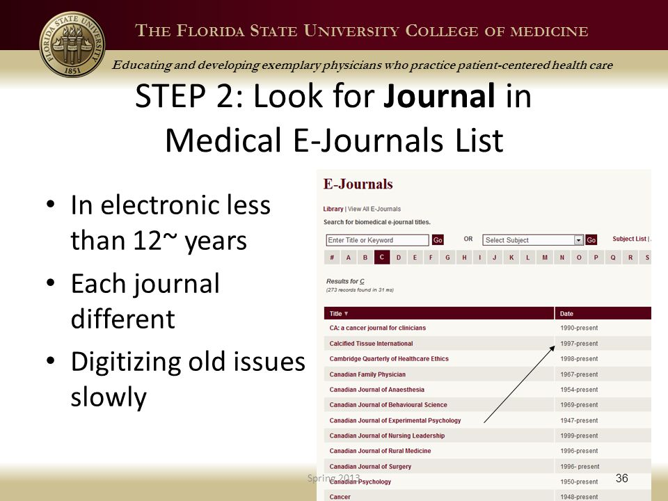 T HE F LORIDA S TATE U NIVERSITY C OLLEGE OF MEDICINE Educating and developing exemplary physicians who practice patient-centered health care STEP 2: Look for Journal in Medical E-Journals List In electronic less than 12~ years Each journal different Digitizing old issues slowly Spring 2013 36