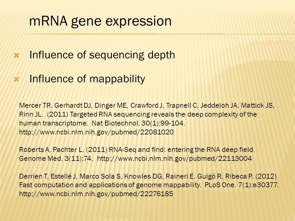 mRNA gene expression Mercer TR, Gerhardt DJ, Dinger ME, Crawford J, Trapnell C, Jeddeloh JA, Mattick JS, Rinn JL. (2011) Targeted RNA sequencing revea