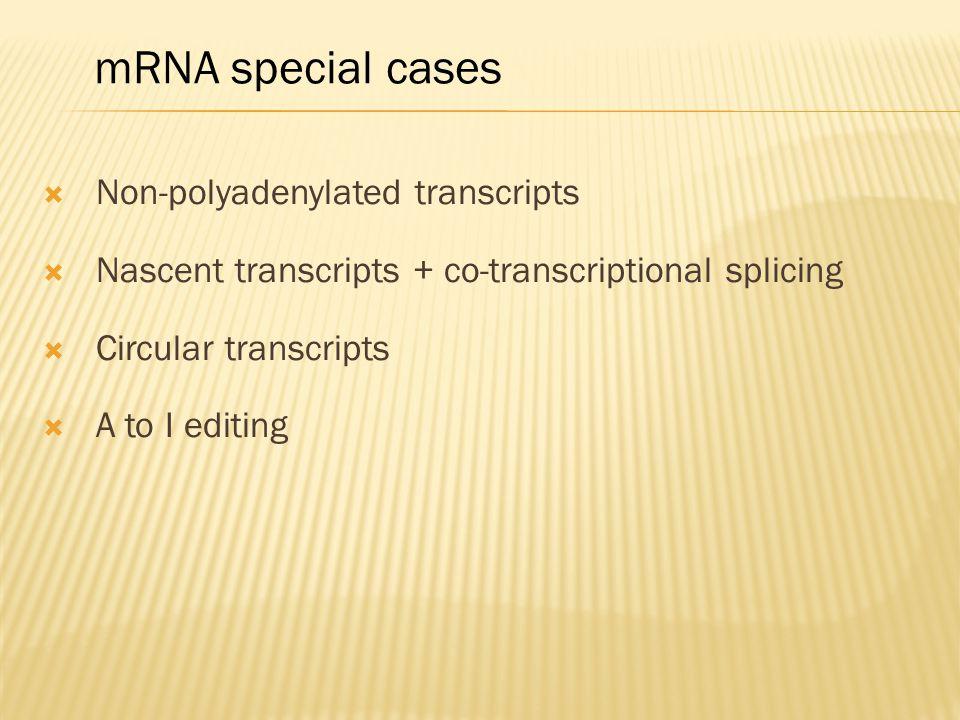  Non-polyadenylated transcripts  Nascent transcripts + co-transcriptional splicing  Circular transcripts  A to I editing mRNA special cases