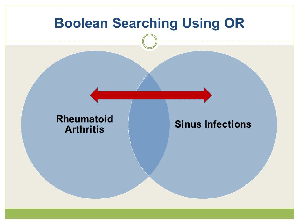 Boolean Searching Using OR Rheumatoid Arthritis Sinus Infections