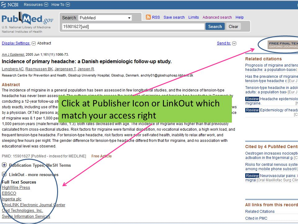 Click at Publisher Icon or LinkOut which match your access right