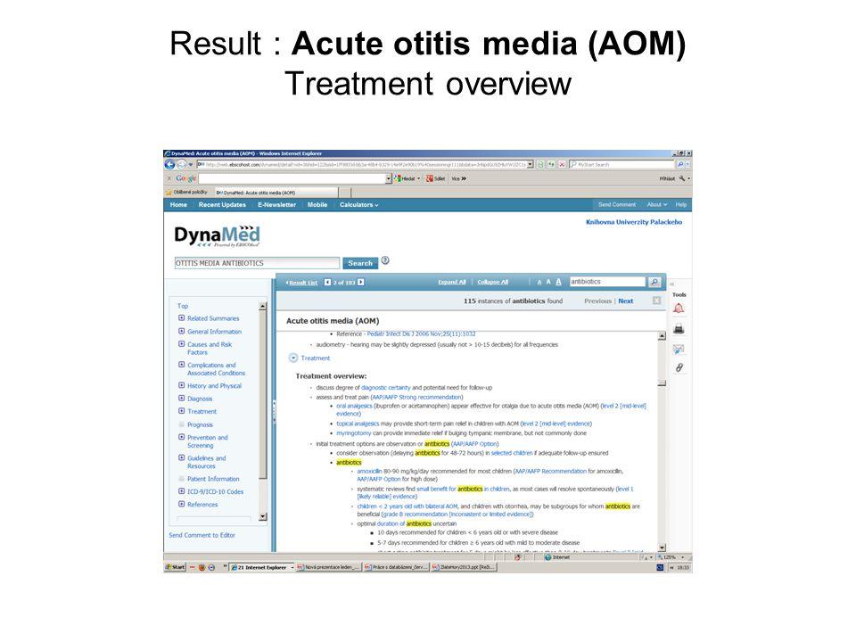 Result : Acute otitis media (AOM) Treatment overview