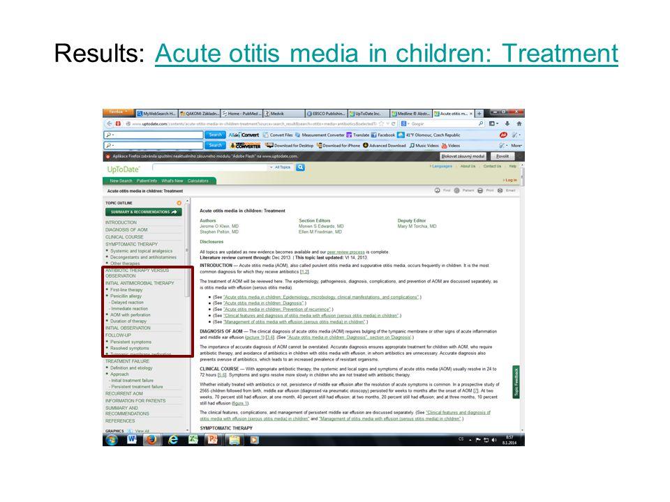 Results: Acute otitis media in children: TreatmentAcute otitis media in children: Treatment