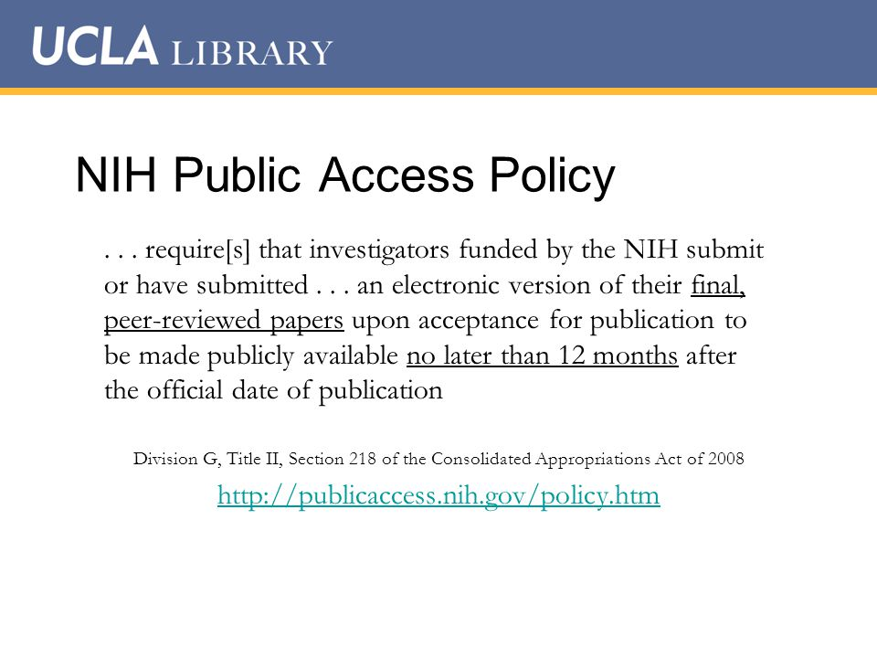 NIH Public Access Policy...