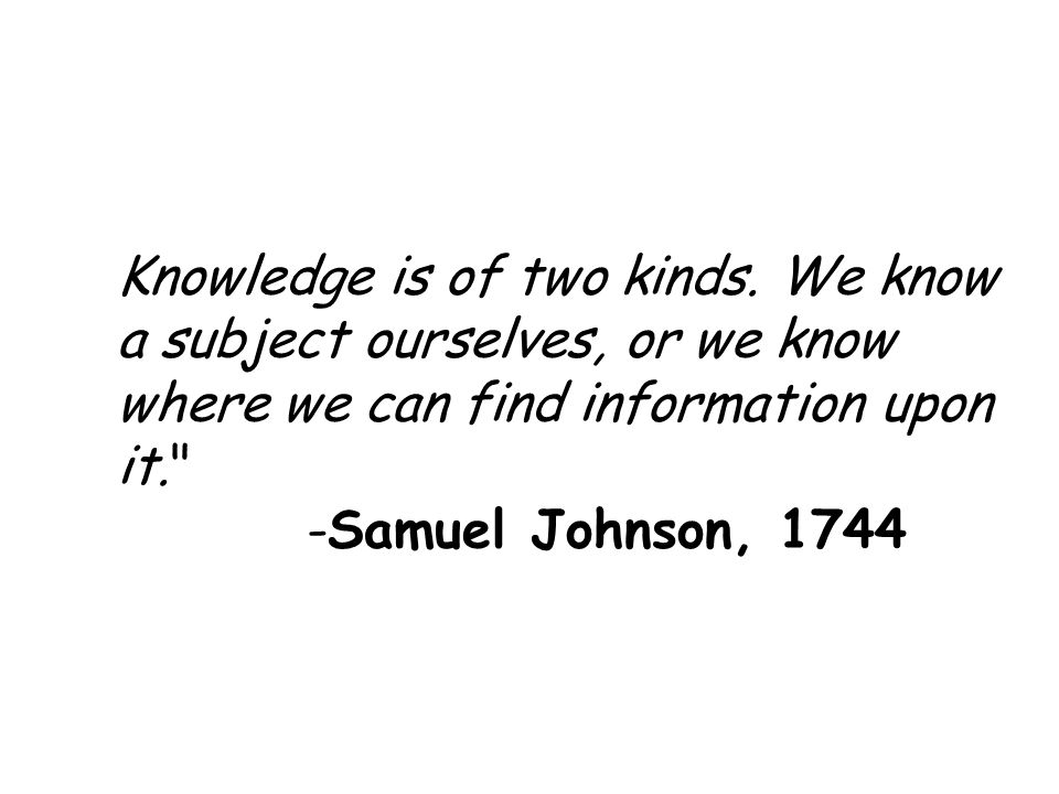 Knowledge is of two kinds.